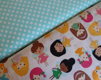 New Anne Kelle Fairy Princess in Bright and Spot On in Pond Fabric Bundle, Robert Kaufman Fabrics (2 Half yard Bundle)