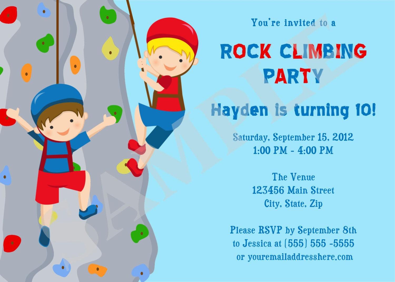 Felswand klettern Jungs Geburtstag Einladung zur von ...