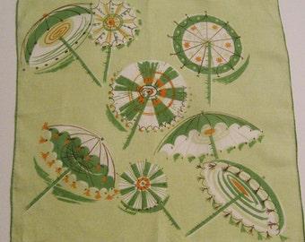 Vintage Designer Jeanne Miller Beach Umbrellas Hankie