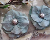 Sea Aqua Hydrangea Flower Hair Clips - Pearl and Silver Button Center - Set of 2 - Hair Accessories