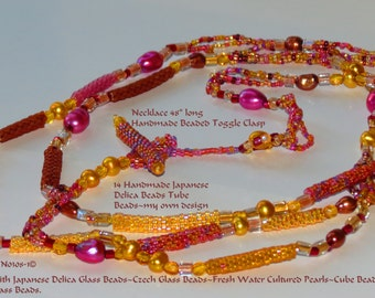 """Sale!!  Delica Bead Tubes, Lavender and Gold pearls, Delica Beads and Seed Beads Necklace 48"""" FREE SHIP USA"""