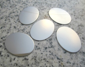 """3/4"""" x 1"""" (19mm x 25mm) Oval Stamping Blank, 22g Stainless Steel - AWESOME Silver Alternative O06-08"""
