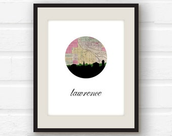 Lawrence Kansas - Kansas state - Kansas skyline - University of Kansas Jahawks - city skyline print