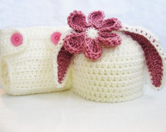 CROCHET PATTERN - Bunny Ear Beanie & Diaper Cover - rabbit hat photo prop Easter sizes newborn to 6 months PDF Pattern