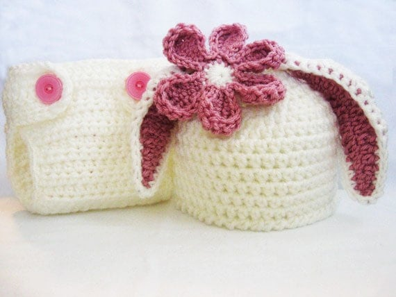 Free Crochet Pattern For Bunny Ears And Diaper Cover : CROCHET PATTERN Bunny Ear Beanie & Diaper Cover rabbit hat