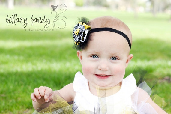 Baby Bee Headband  Bumble Bee Fabric Yoyo Headband  Toddler Girls