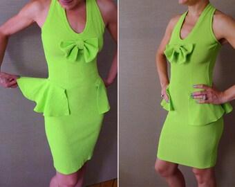 90s neon green peplum waist halter tube dress M