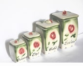 Vintage french ceramic canisters. 1920's Cottage chic Farmhouse kitchen.