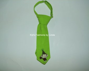 Lime Green Tie with Birthday Monkey