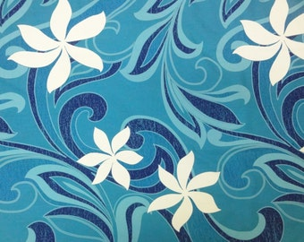 "Hawaiian Tahitian Fabric, Blue & White Tiare Print - 45"" wide, 2 yd (Other Colors Available)"