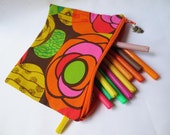 Zippered Purse Pencil Case or Make Up Bag -  Sixties Psychedelic Print Fabric