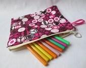 Zippered Purse Pencil Case or Make Up Bag - Retro Sixties Peace Print Fabric