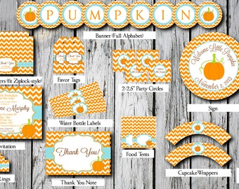 SALE** Little Pumpkin Baby Shower Party Pack -- Printable Custom DIY