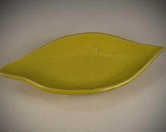 Real Ginkgo Leaf imprint spoon rest - soap dish - jewelry dish - trinket tray
