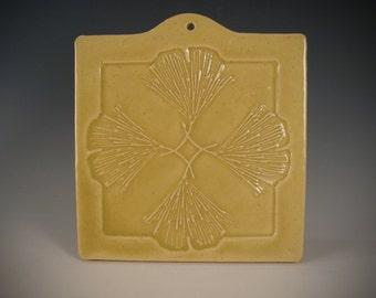 Ginkgo Leaf sunrise yellow decorative hanging tile