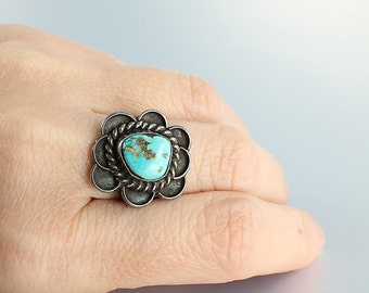 Blue Turquoise ring, Sterling silver Navajo Ring, Size 7 Native American Southwestern Jameson Lee vintage jewelry