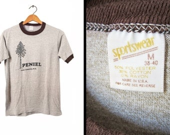 Vintage Tri Blend Camp T-shirt Rayon NY 80s Heather Brown Ringer Peniel Bible Camp - Small