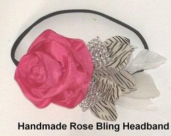 Pink Satin Rose and Bling skinny headband - Handmade