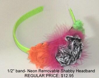 Hand made Neon & Zebra shabby headband