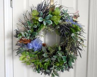 Grapevine Wreath With Cinnamon Sticks and Bird House