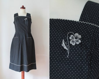 Vintage Sundress - Black & White Polka Dot Dress - 1970's Dress - Size M