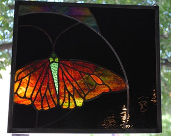 Butterfly Stained Glass Window Panel night magic butterfly custom