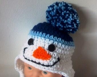 Boys Snowman hat - Girls Snowman Hat - Winter hat - Crochet - Photo Prop