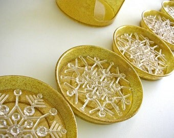 Couroc Holiday Gold Glitter Snowflake Coaster SET of 6 with Caddy Crystal Snowflakes from The Back Part of the Basement
