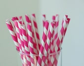 25 Raspberry Pink & White Striped Paper Straws - with Printable Mini Chevron Straw Flag PDF