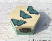 Wooden box, Engagement box, Wedding ring bearer box, Wedding box, Jewelry Box, Ecofriendly, Blue Butterflies design