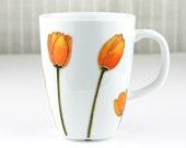Hand Painted Porcelain Cup, Tulips Mug, Coffee Mug, Tea Cup, Tea Mug, Orange & Yellow Tulips Design, Painted Coffee Mug