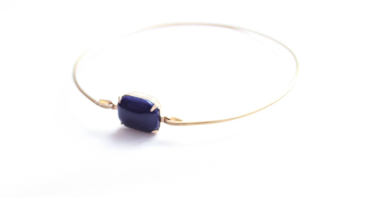Large Vintage Navy Blue Set Stone Bangle, Stackable Bangle, Colored Stone Bracelet, Gem Stone Bangle, Rhinestone Bangle, Bezel Bangle