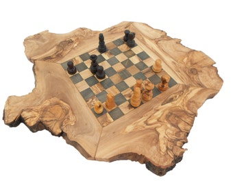 Rustic Chess Set Board, Olive Wood personalized Natural edge chess board, Dad gift