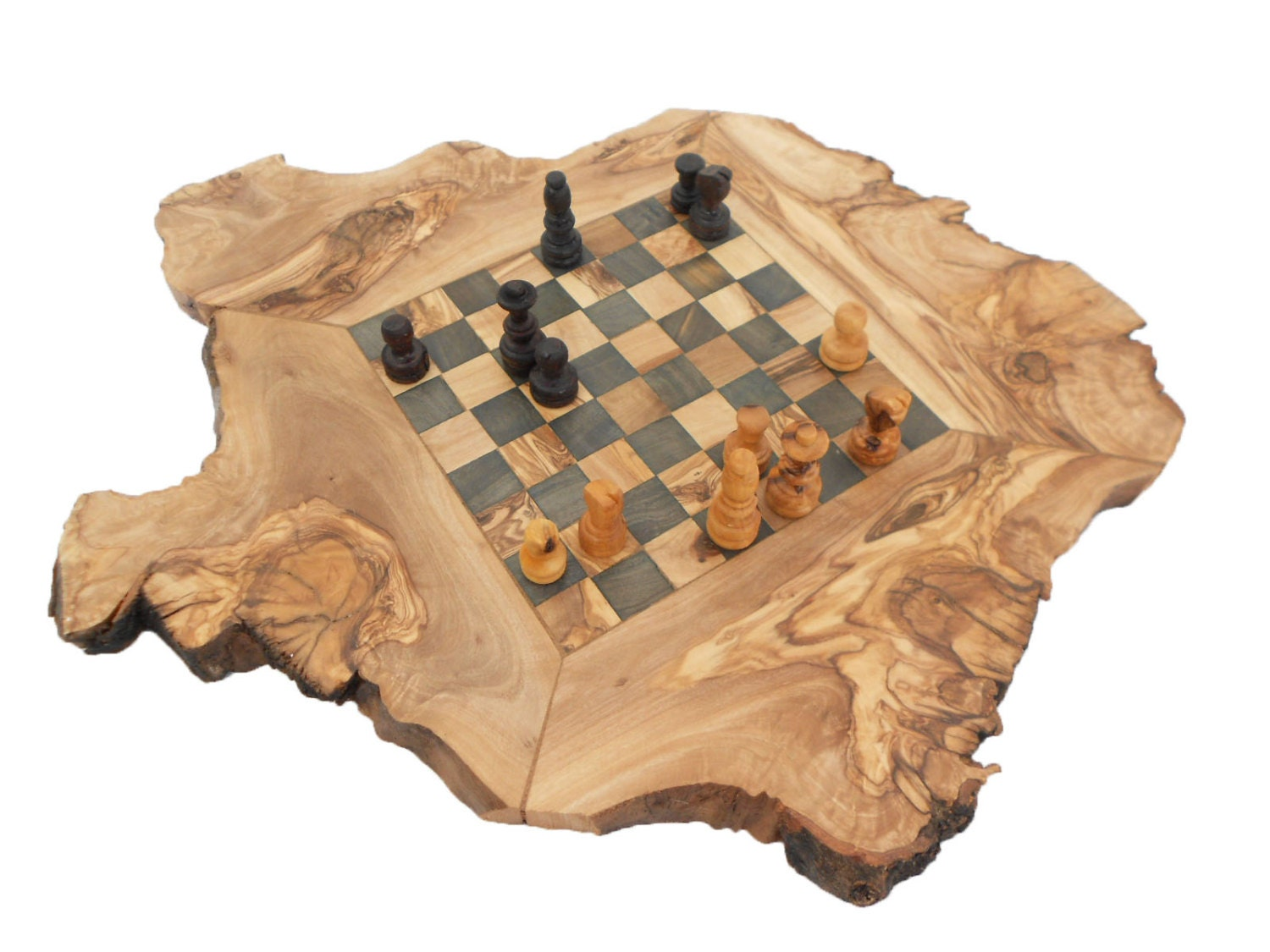 Engraved Rustic Chess Set Board Olive Wood Personalized