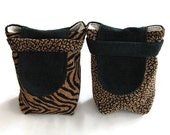 Reusable Small Gift Bags Leopard Cheetah Tiger Animal Print  Safari Tan Black Upholstery Fabric Modern (set of 2) --US Shipping Included
