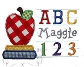 Back to School ABC 123 Frame Embroidery Design Machine Applique