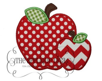 Back to School  2 Apples Embroidery Design Machine Applique
