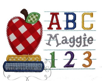 Back to School ABC 123 Frame Embroidery Design Machine Applique