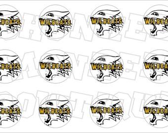 black and gold Wildcats bottlecap image sheet - school mascot