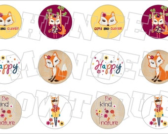 Made to Match Gymboree M2MG Fashionable Fox bottlecap image sheet