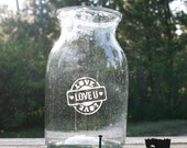 Love Vase or Jar Hand Sand Etched Hand Blown Glass