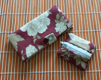 Fabric Check Book Cover and coin purse set- Cream flowers with snap button and zipper