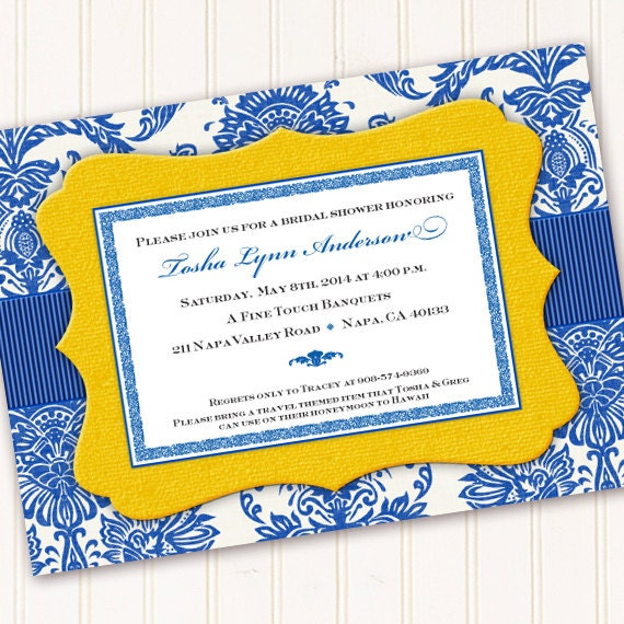 bridal shower invitations, thank you cards, cobalt and sunshine yellow bridal shower invitations, cobalt and yellow wedding invitationsIN261