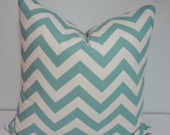 Village Blue & Off White Chevron Zig Zag Decorative Throw Pillow All Sizes