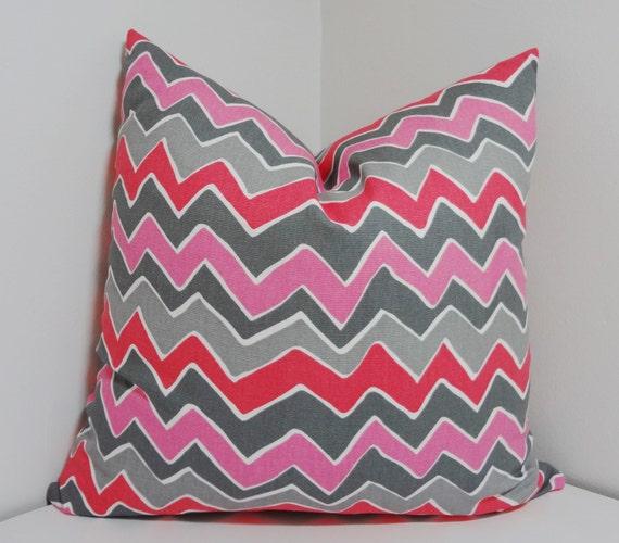 Fushia Pink & Grey Zig Zag Chevron Print Pillow Covers Throw Pillows 18x18