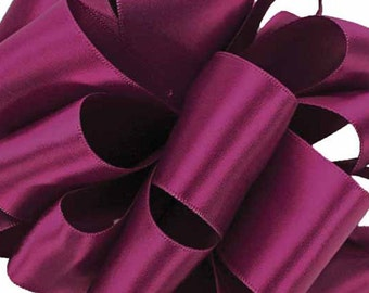 """Satin Ribbon, 1 1/2"""" wide, Purple Wine Double Faced - FIVE YARDS - Offray Double Sided Satin No. 9, Wedding Ribbon, Sewing Trim, Color 427"""