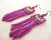 Vivid fringe earrings - bright purple textile fringe earrings - fabric statement earrings