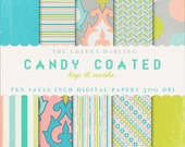 INSTANT DOWNLOAD Digital Paper Pack: Candy Coated (days at seaside colorful pastels)