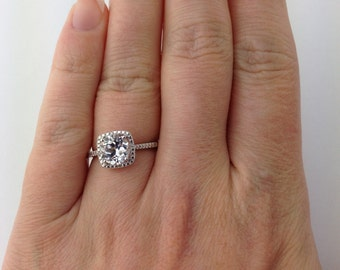 White Sapphire Halo Diamond Ring - Alternative Engagement Ring -Sterling Silver White Sapphire and Diamond Birthstone Ring