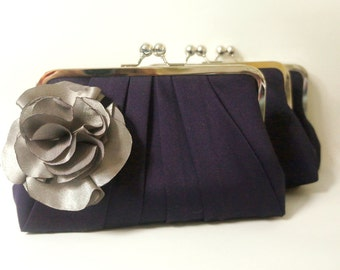 Purple and Gray Bridesmaid Clutch Purse with Flower Adornment- Pleated